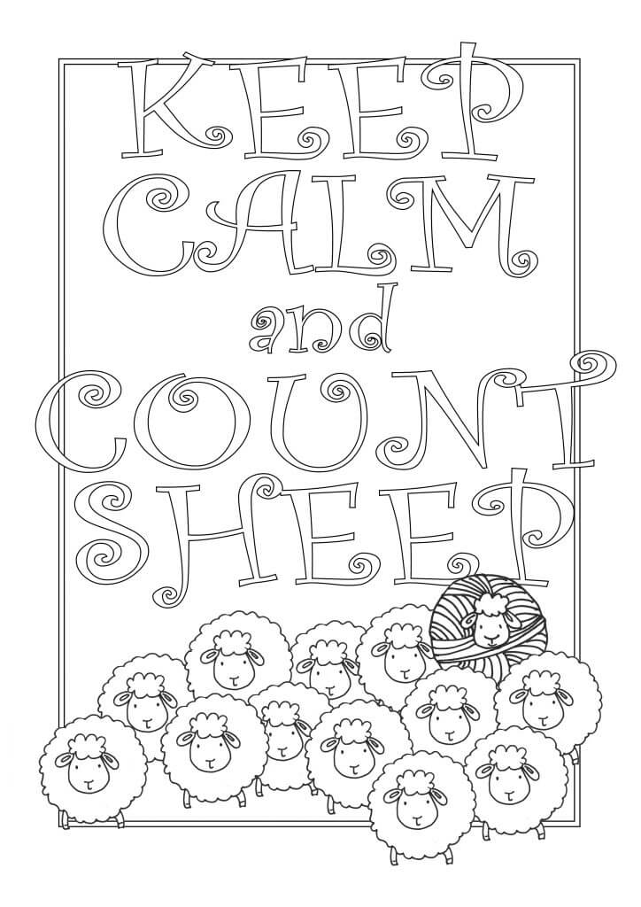 Quote Coloring Page for Adults | Keep Calm and Count Sheep a Free Printable for your Craft Room | Don't Be Such a Square