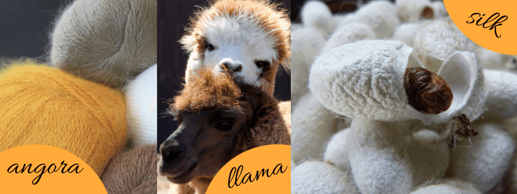 Don't Be Such a Square | How to pick a yarn for my project? Examples of animal fibers. Angora yarn from the angora rabbit, llamas give llama fiber and the silk worm in its cocoon