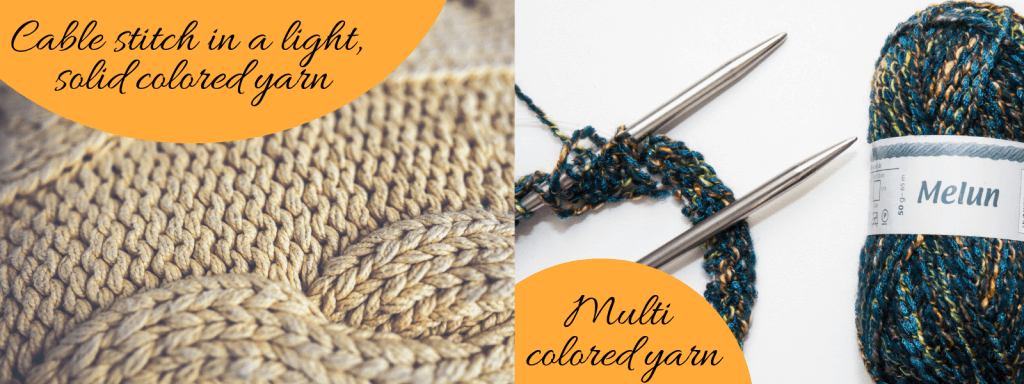 Don't Be Such a Square | How to pick a yarn for my knitting project? A guide to help beginner knitters learn what to consider when choosing a yarn for projects. A cable stitch pattern in a smooth texture and light, solid colored makes it pop! A textured, multi colored yarn is best knitted in stockinette or garter stitch