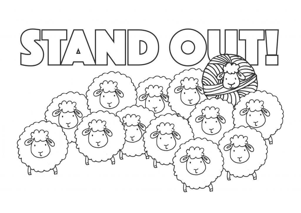 "Don't Be Such a Square | Free resources for Knitters | ""Stand Out!"" printable knitting themed coloring page #coloring #knitting #sheep"