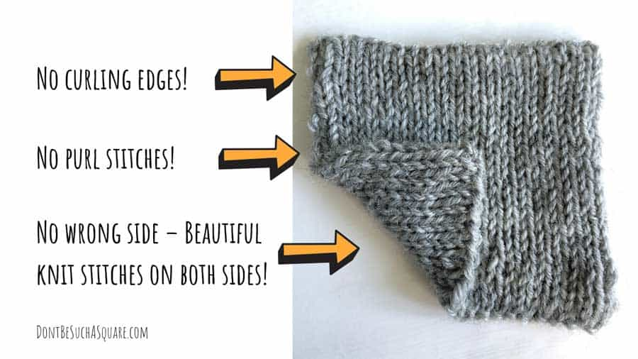 The perks of Double Stockinette stitch – No wrong side, just two beautiful knit sides, it does not curl and there is no purl stitches needed. #Knitting #DoubleStockinette #