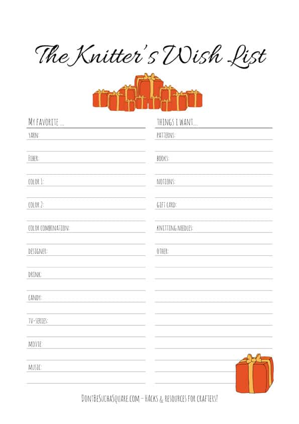 Knitters Wish List | A (printable PDF) wish list to help your loved ones when shopping for gifts! Perfect for the Holidays, Birthdays or Mother's Day  #WishList #Christmas #Knitting #Holidays #MothersDay #Birthday