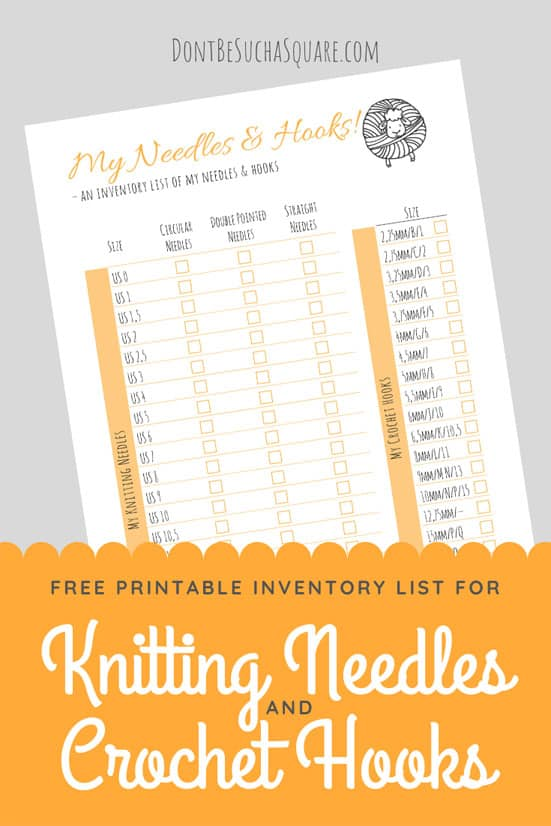 Printable Inventory LIst for Crochet Hooks and Knitting Needles | Keep track of which needles and hooks you already have with this free printable inventory list!  #Knitting #KnittingNeedles #Crochet #CrochetHook #Printable #InventoryList #ProjectPlanning