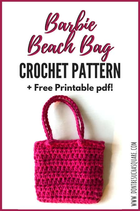Barbie Crochet Beach Bag Pattern | Crochet this cute and super easy bag for Barbie to carry her things in when going to the beach! Free printable pdf pattern. #Barbie #CrochetPattern #Crochet #BarbieAccessories