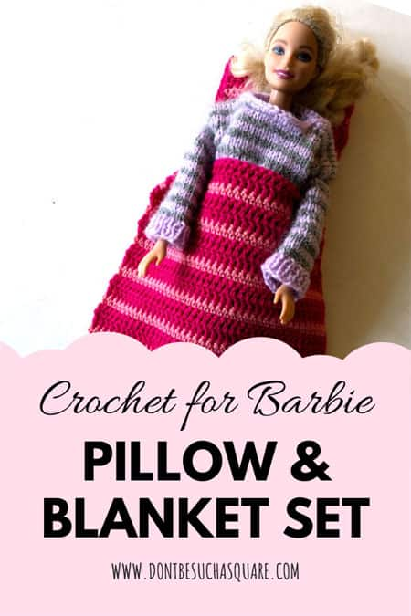 Barbie Pillow Crochet Pattern – Crochet pillow for Barbie to rest her pretty head on with this super easy printable pdf pattern. A perfect beginner pattern! #CrochetPattern #Barbie #BarbieCrochet #Pillow