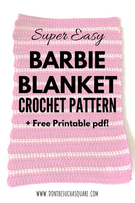 Barbie Doll Blanket a Free Crochet Pattern This pattern is super easy to crochet, perfect for beginners or even kids learning to crochet. Starting out with a small project makes it easy to finish! #CrochetPattern #Barbie #BarbieCrochetPattern #BarbieBlanket #BeginnerProject