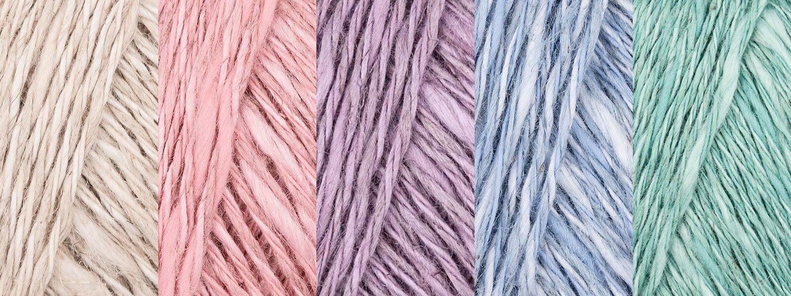 Natura linen is a linen blend yarn available in a range of icy pastel colors at LoveCrafts.