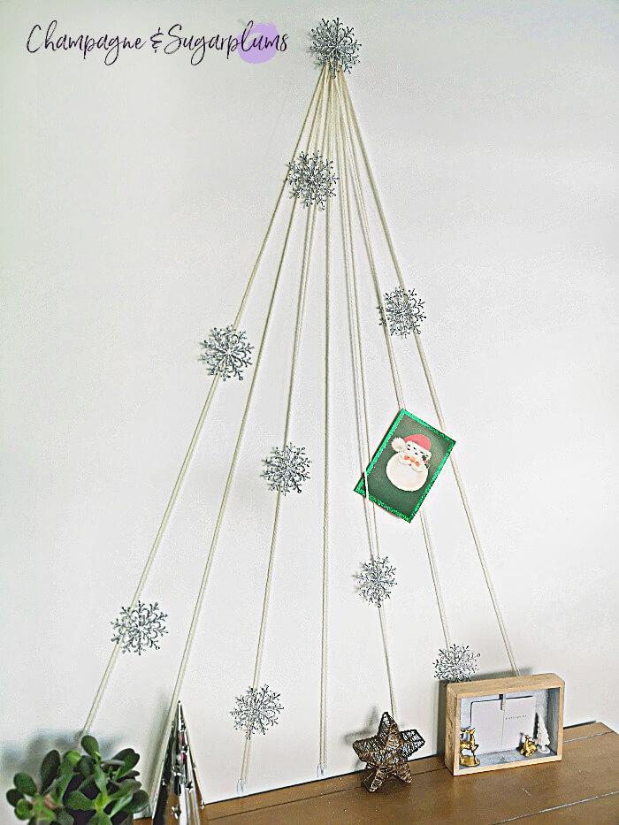 A modern style yarn Christmas tree made from yarn.