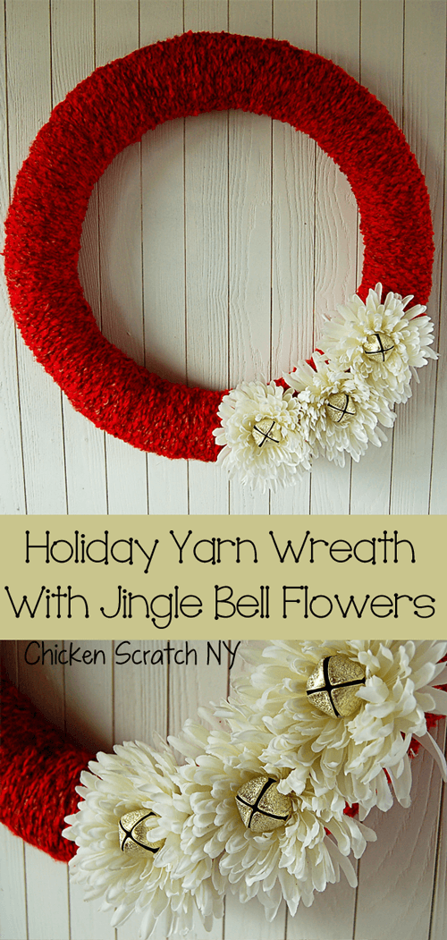 A stylish holiday wreath in red with white flowers