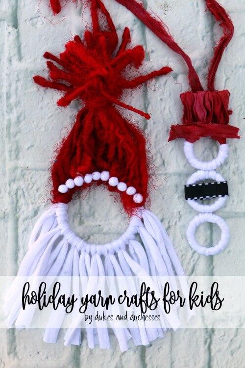Fun yarn Chirstmas crafts for kids