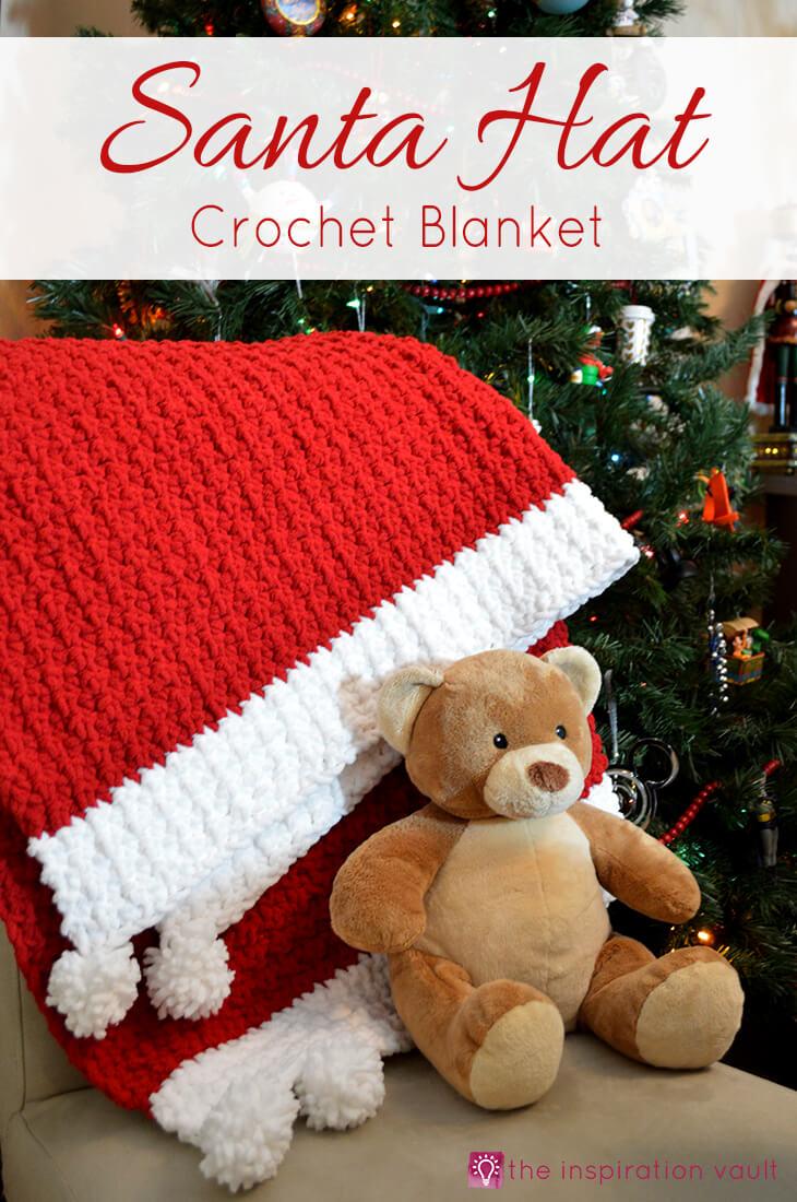 Santa hat crochet blanket
