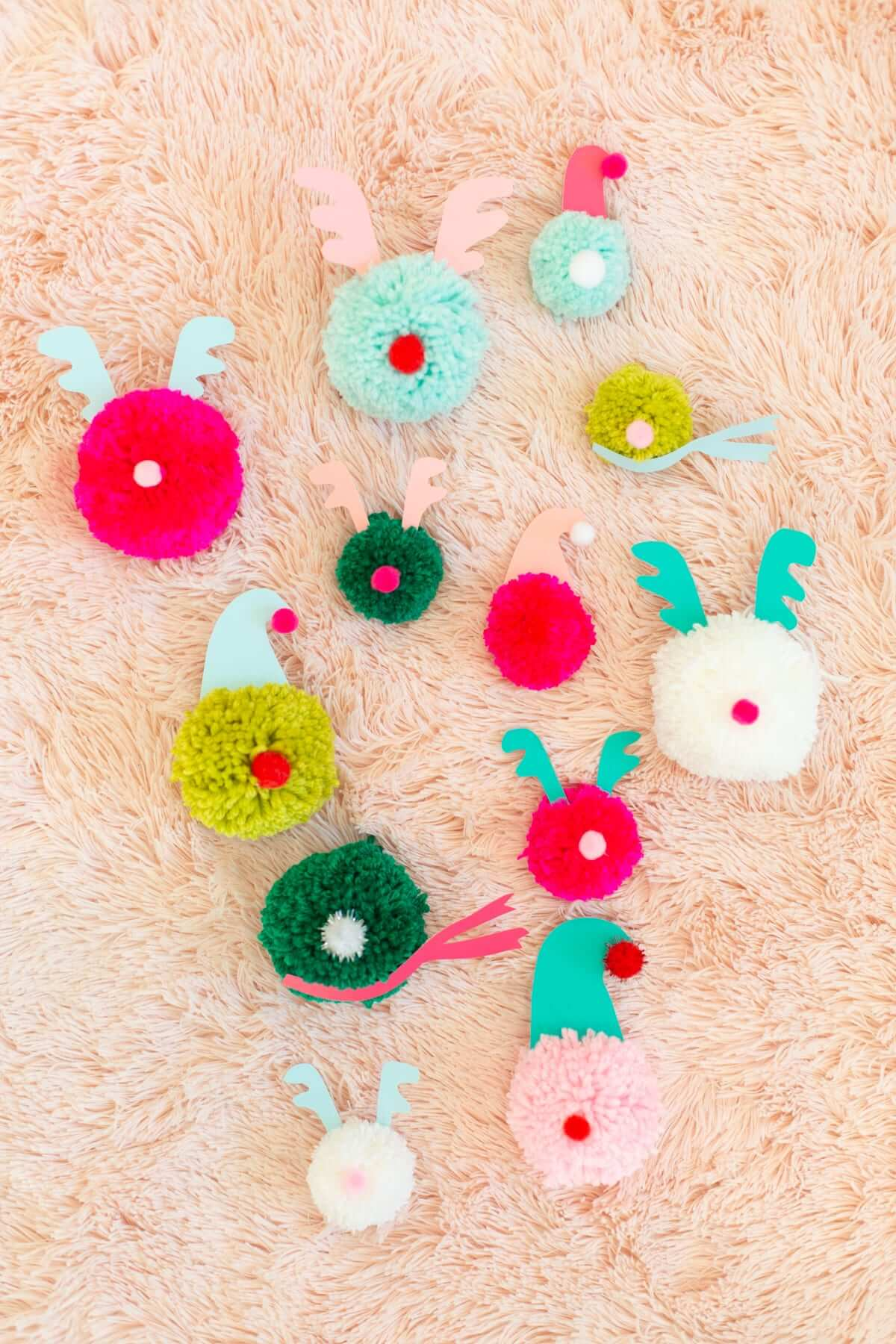 Super cute pompom ornaments from Lovely Indeed