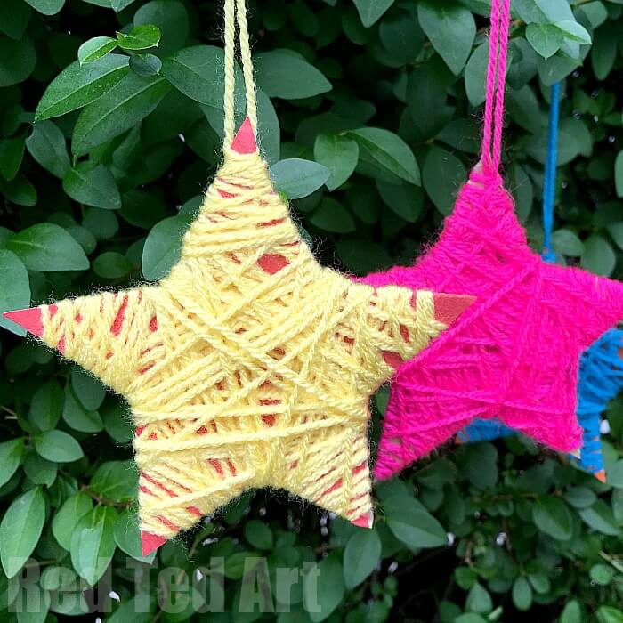 wrapped stars are an easy Christmas yarn craft