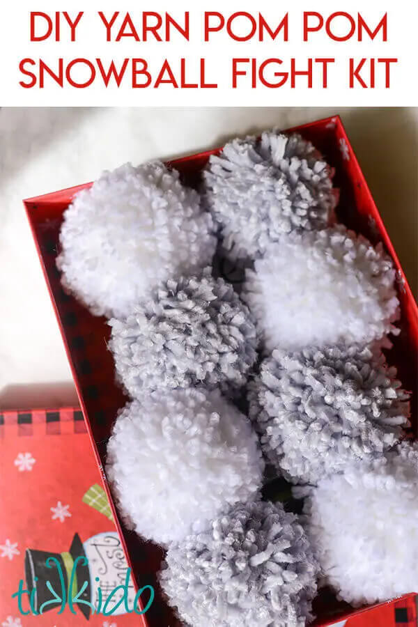 A DIY snow ball fight kit made of white and light grey yarn will be a hit with the kids this Holiday!