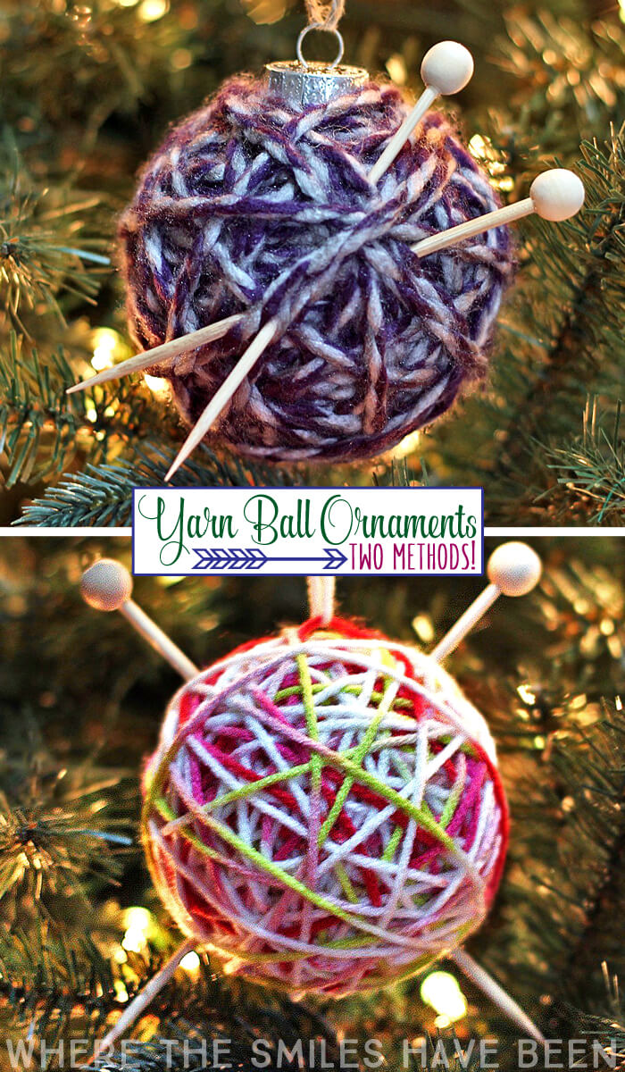 Yarn ball ornaments with tiny knitting needles attached to them