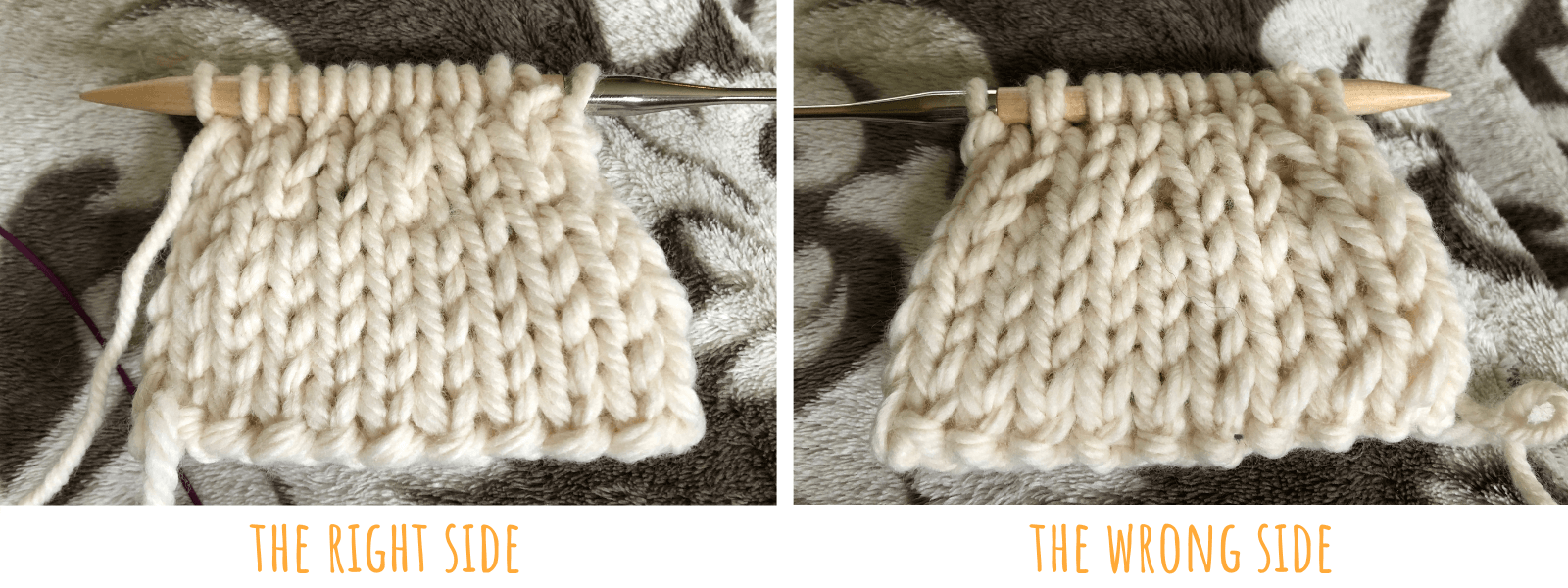 A picture of a decrease in double knitting