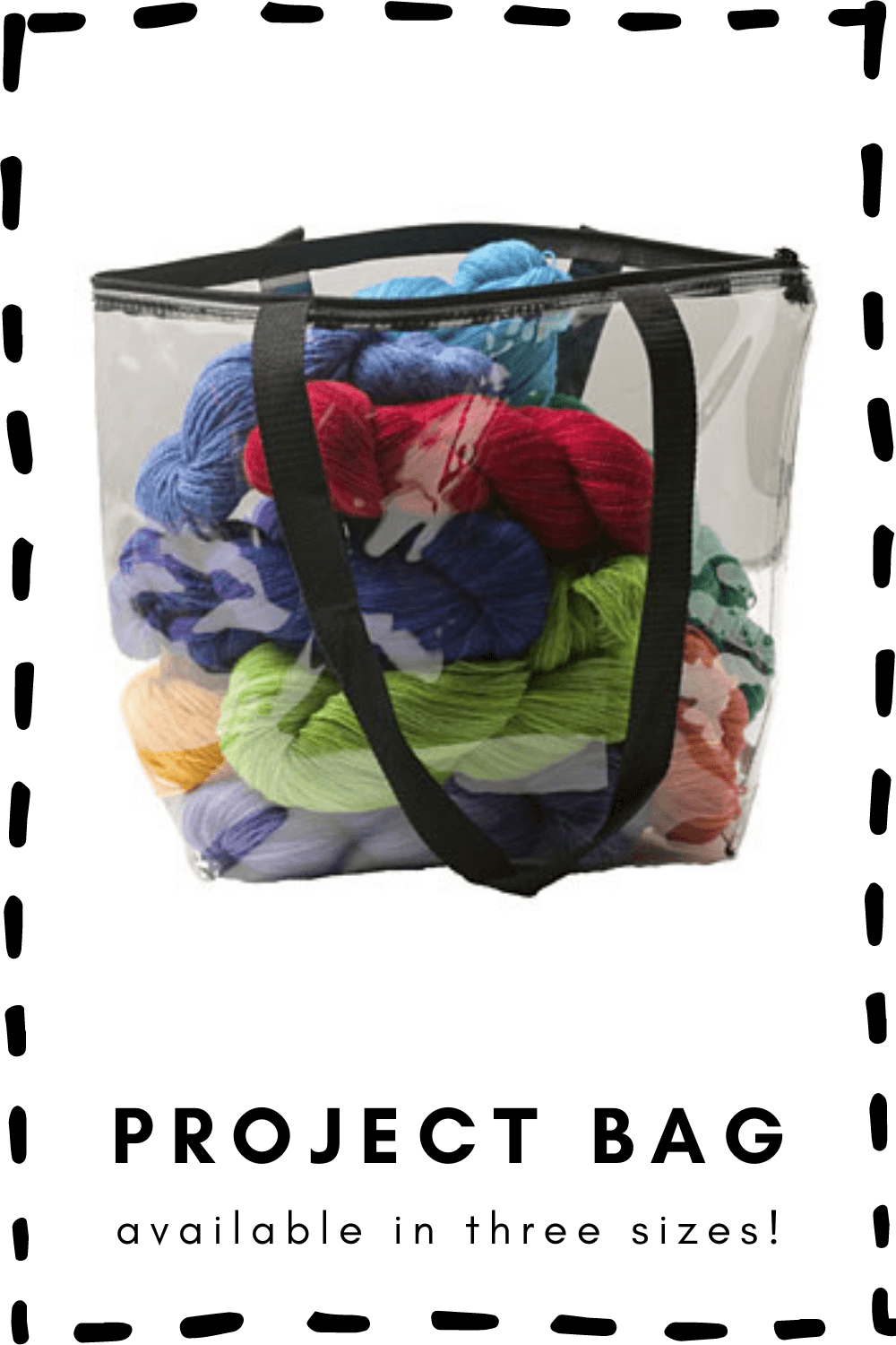 Clear bag for storing yarn or carrying you current knitting project