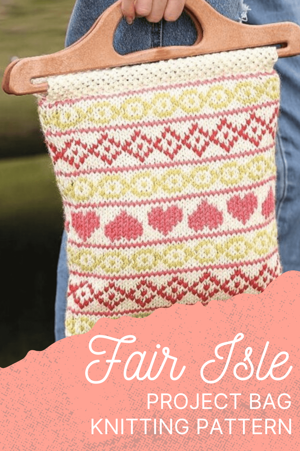 Knit your own knitting project bag with the Fair Isle bag knitting pattern designed by Sian Brown