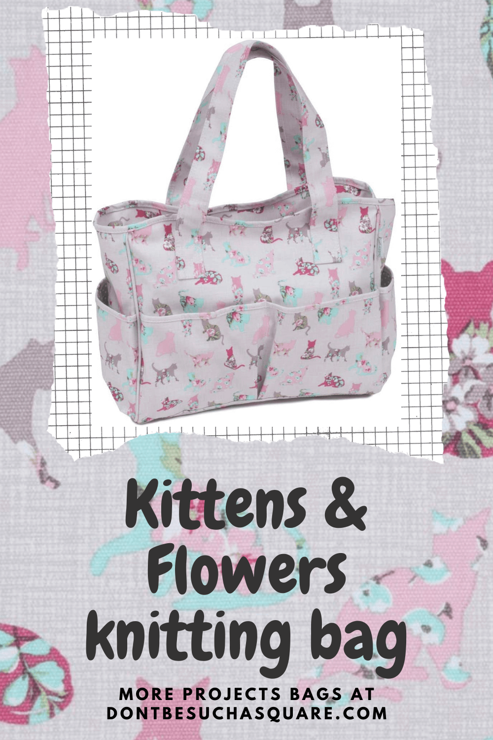 A knitting project bag with many pockets and functions!