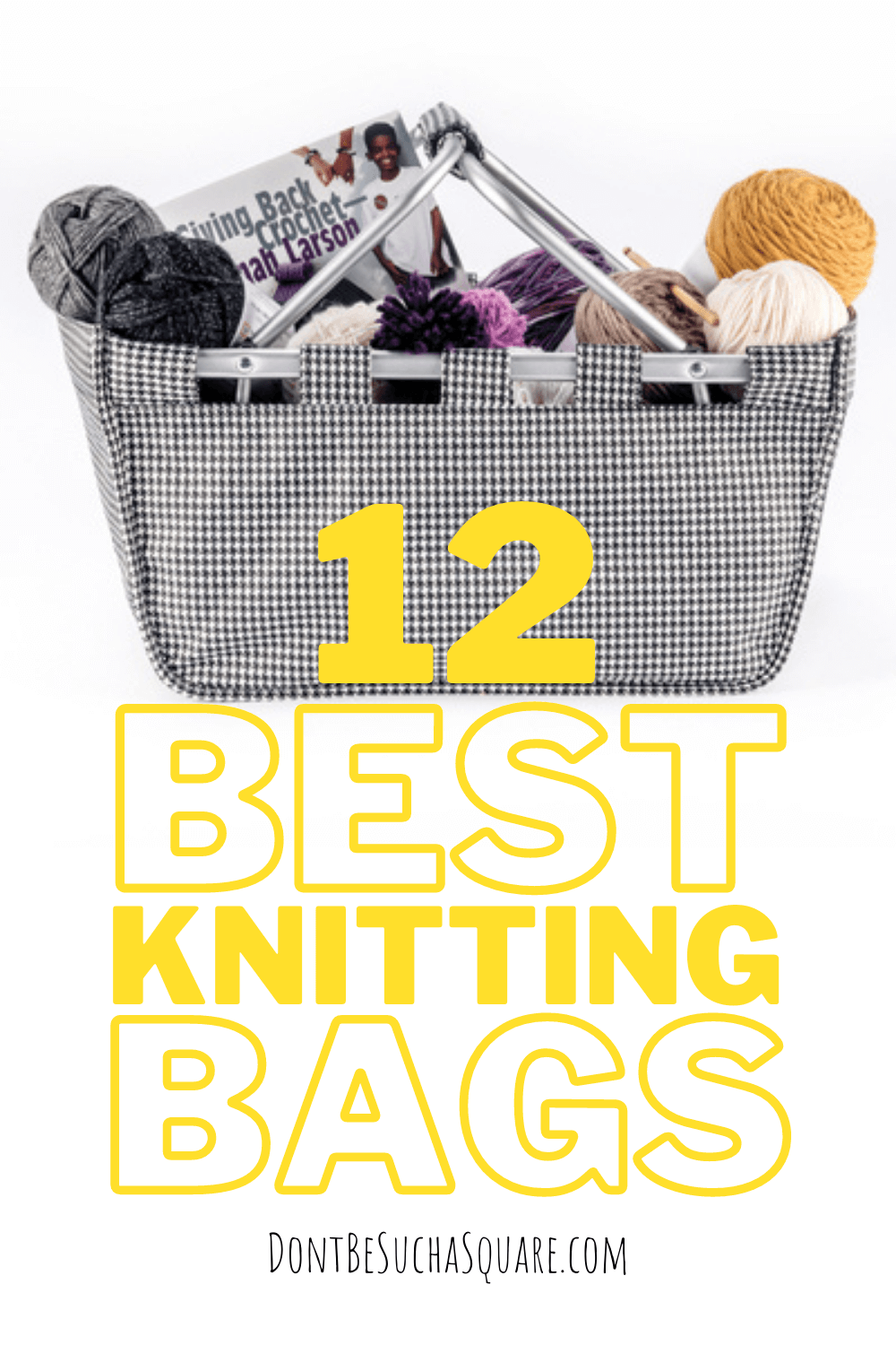A basket perfect for carrying yarn and knitting projects in