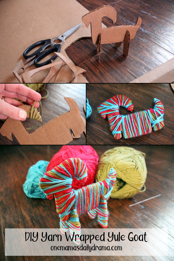 Yarn wrapped Yule goat a fun Christmas yarn craft to make and decorate with