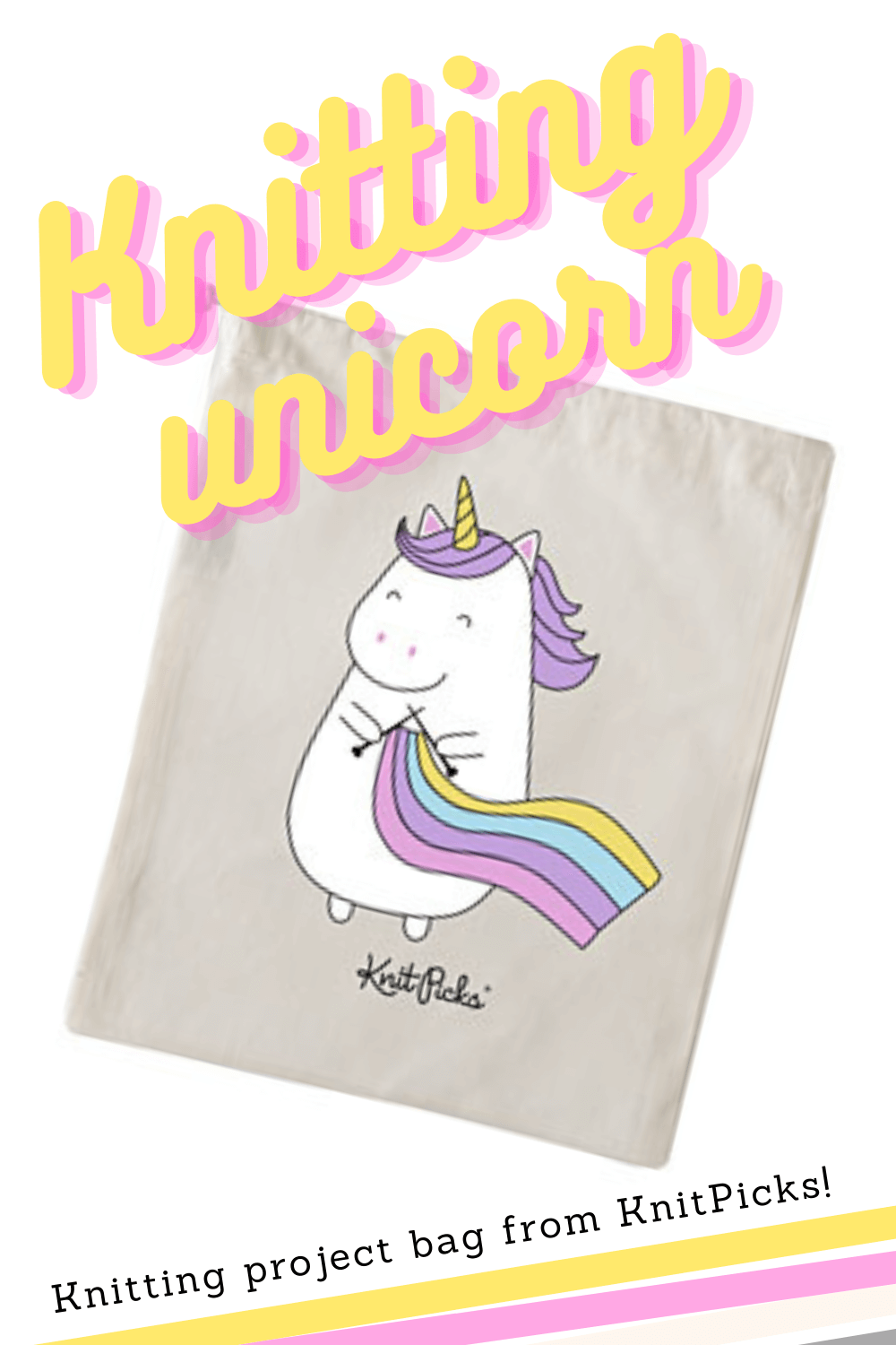 Project bag with a unicorn knitting a rainbow