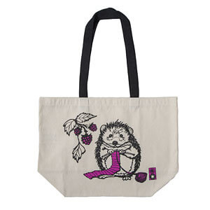 The cutest tote ever with a print of a knitting hedgehog!