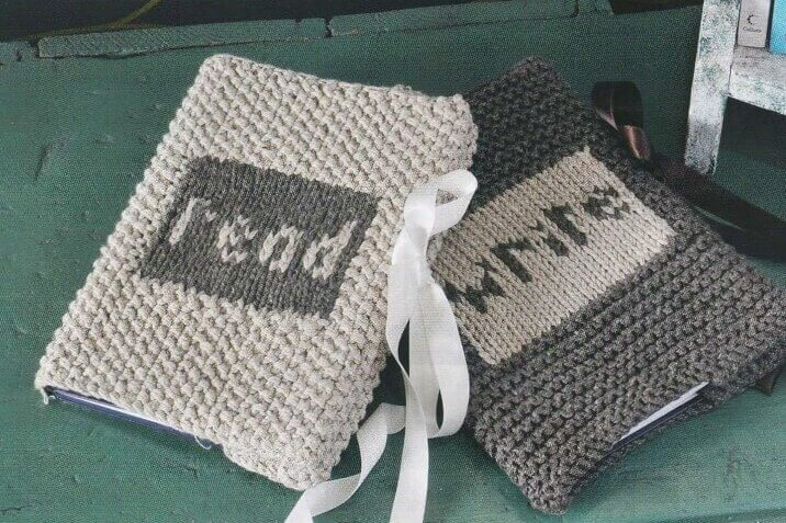 Read and Write knitting patterns for book covers to put on your knitting journal and other books.