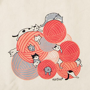 This cute illustration with a pile of cats and yarn can be bought printed on a canvas totebag from KnitPicks