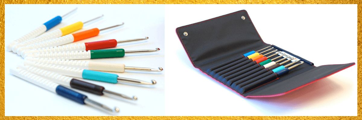 A picture of a colorful set of crochet hooks from Addi