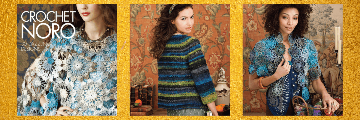 A picture showing the cover and a few designs from the book Crochet Noro