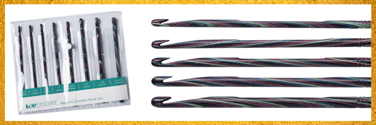 A picture of a beautiful set of marbled crochet hooks from WeCrochet
