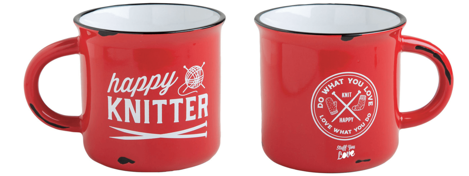 A bright red camping mug with the text Happy knitter on one side and the text do what you love, love what you do on the other side.
