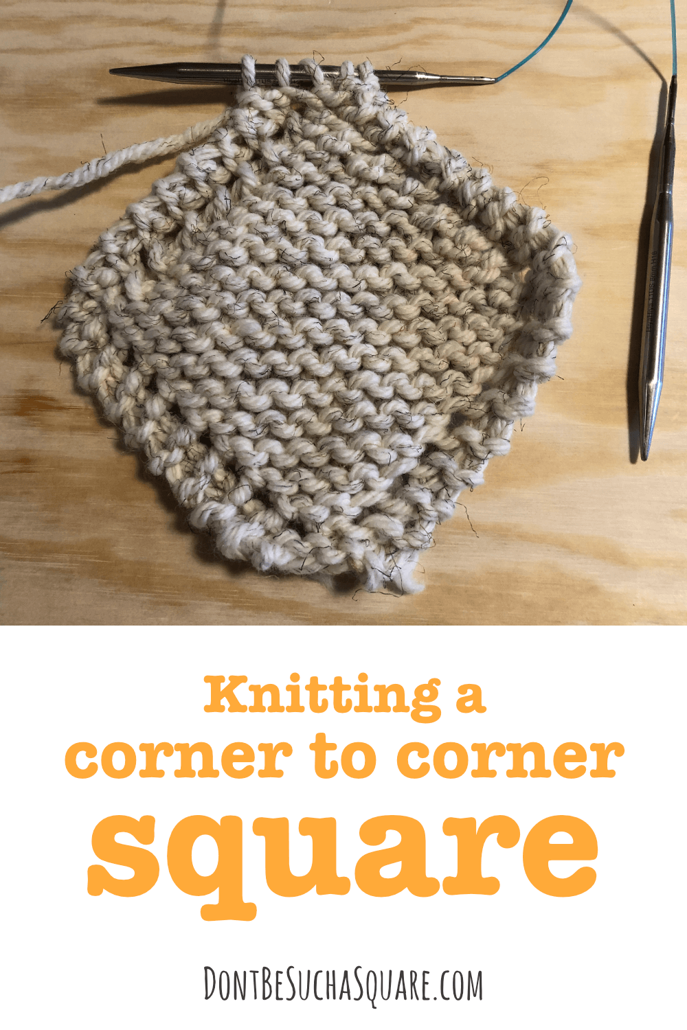 knitting a diagonal square
