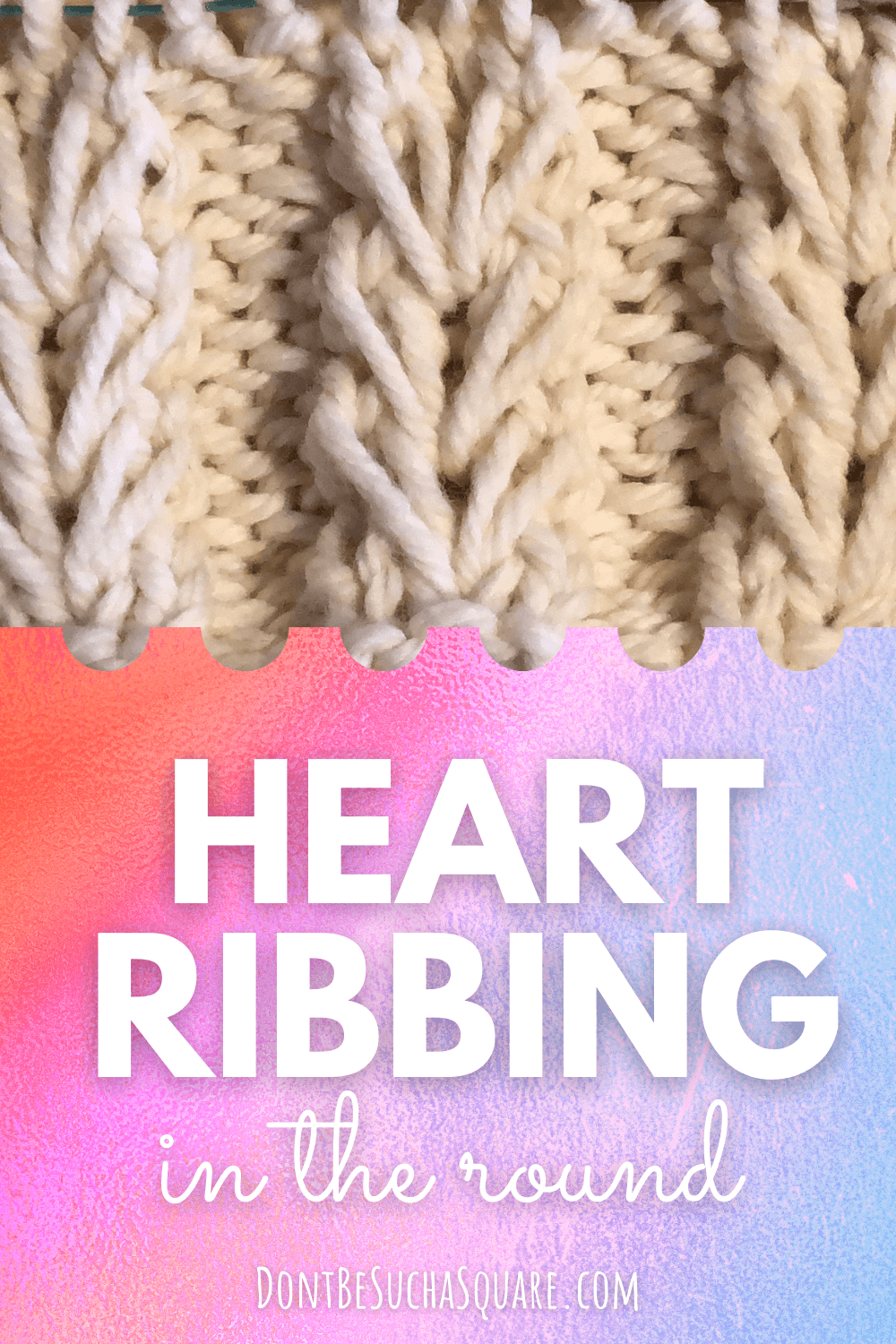 heart ribbing in the round