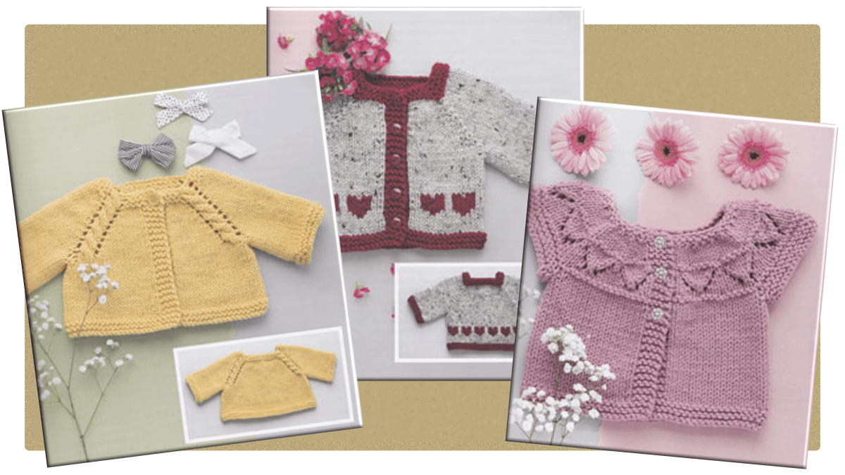 9 knitting patterns for seamless baby cardigans to knit in worsted yarn