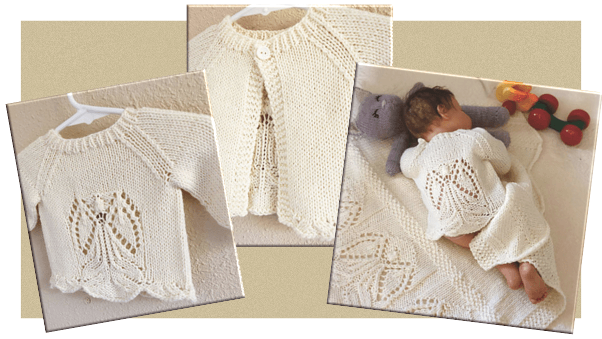 knitting pattern for the Angels around be baby cardigan