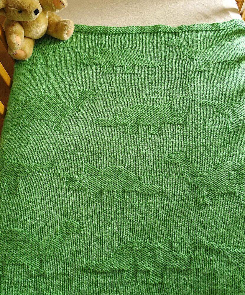 Easy dinosaur baby blanket knitting pattern