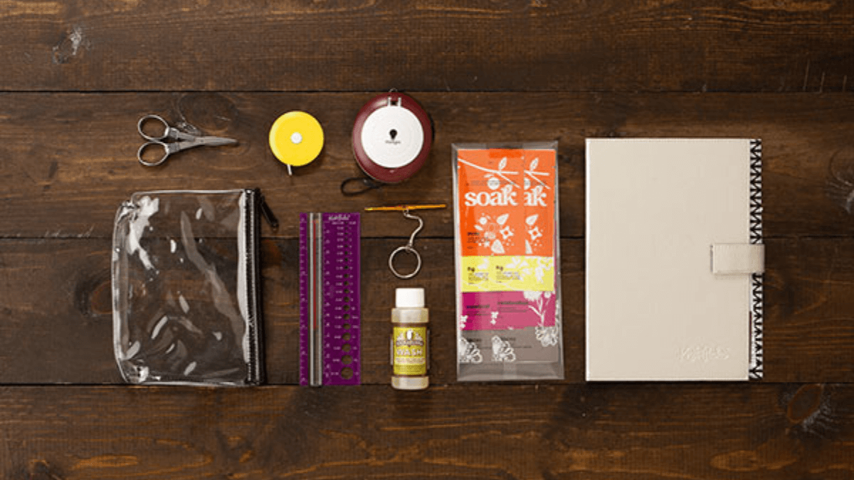 This beautiful knitting travel accessories kit is a perfect luxury gift for knitters
