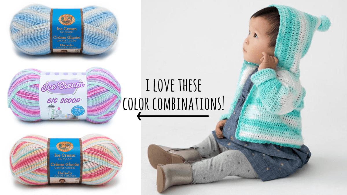 Le cardigan bébé au crochet à capuche Carroll Garden et quelques combinaisons de couleurs alternatives.