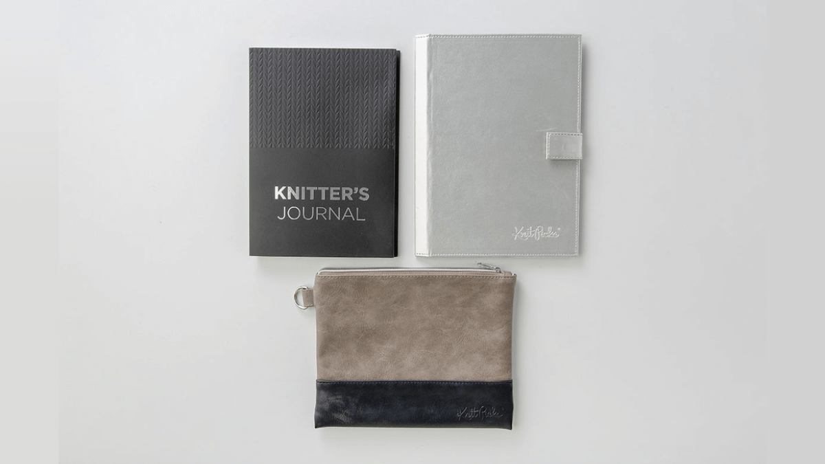 A beautiful project planner set for knitters in sophisticated grey and silver shades