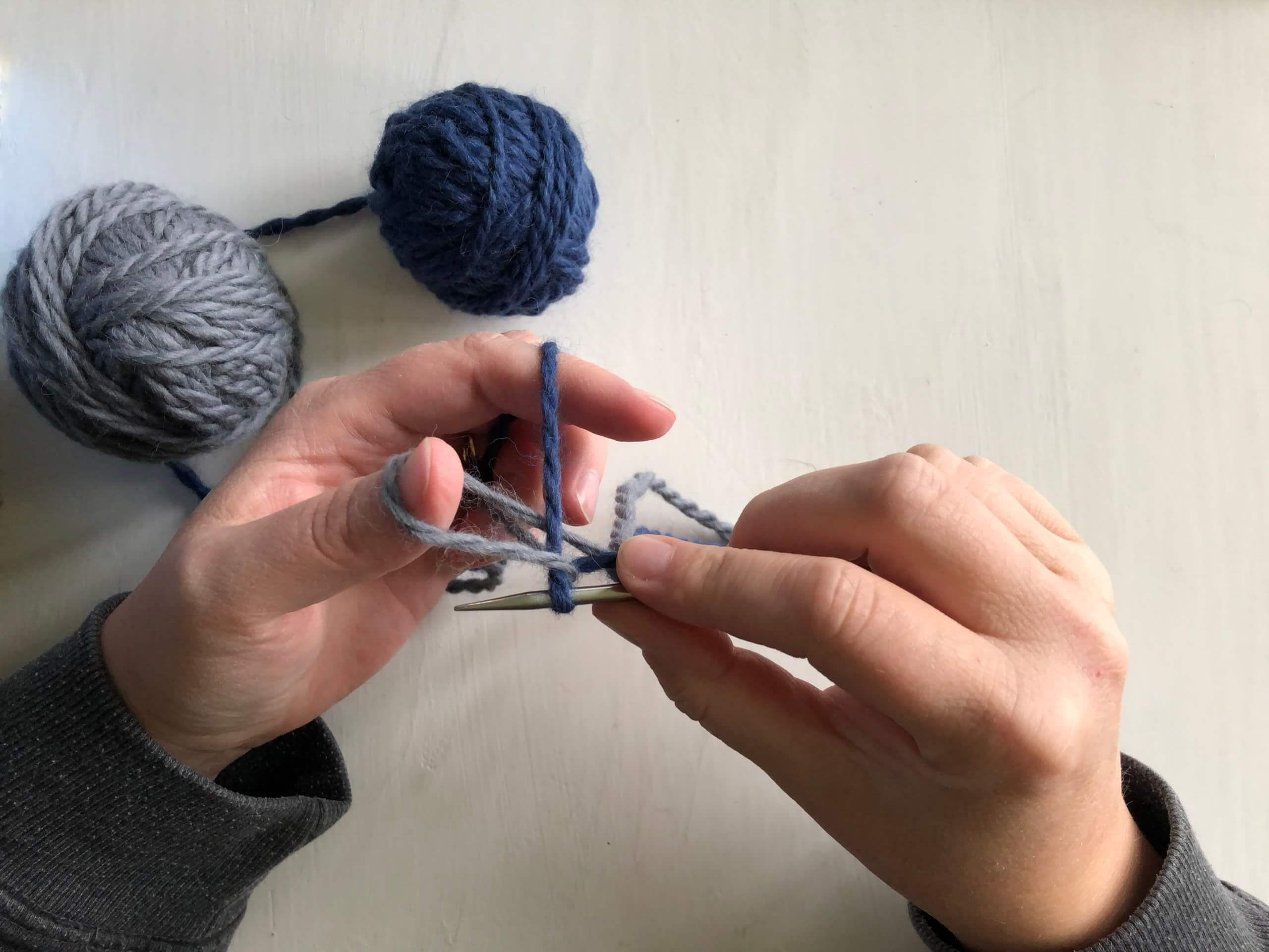 The finally step in creating a stitch with Latvian braid cast on