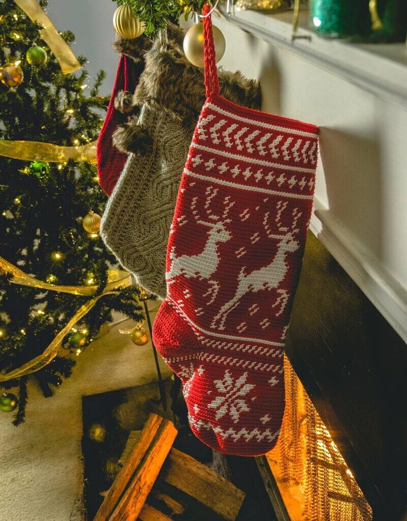 On Prancer Christmas Stocking crochet kit from Lion Brand Yarn